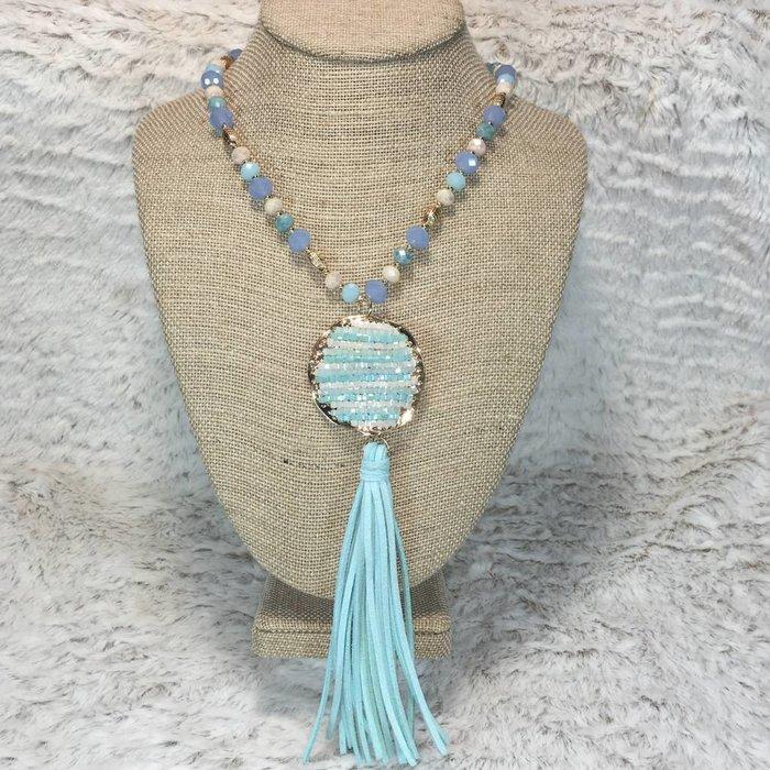 Caribbean Blue Crystal Beaded Necklace