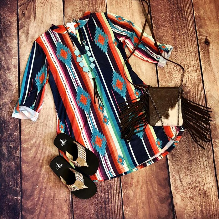 Serape Southwest 3/4 Sleeve Dress