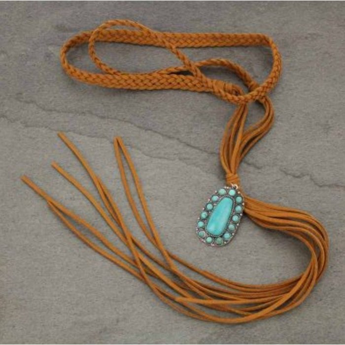 Braided Long Leather Necklace - light