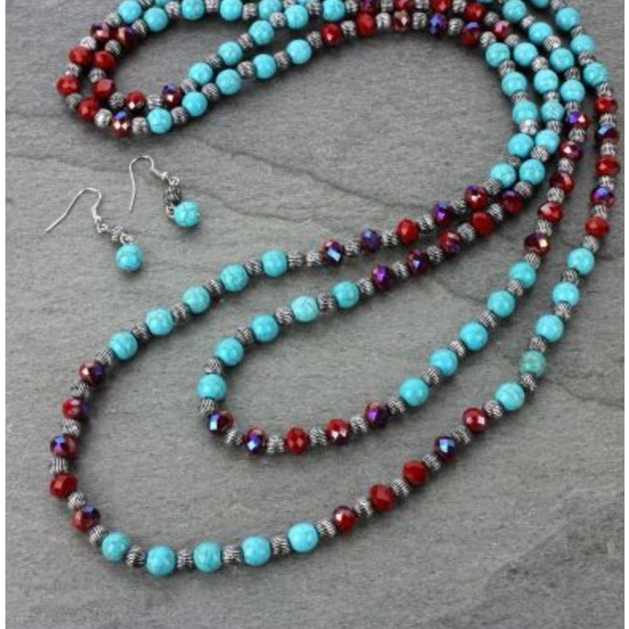 "60"" Red Crystal & Turquoise Beaded Necklace Set"