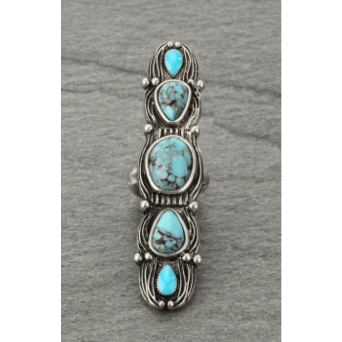 Long Bali Statement Turquoise Stretch Ring
