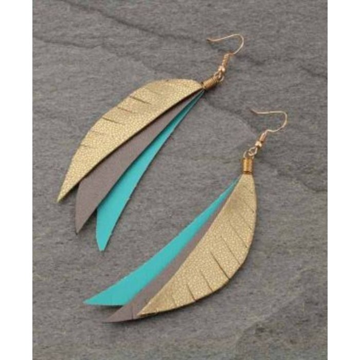 3-Piece Gold Turquoise Faux Leather Earring