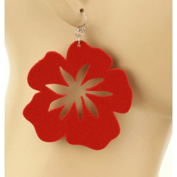 Hibiscus Red Flower Faux Leather Earring