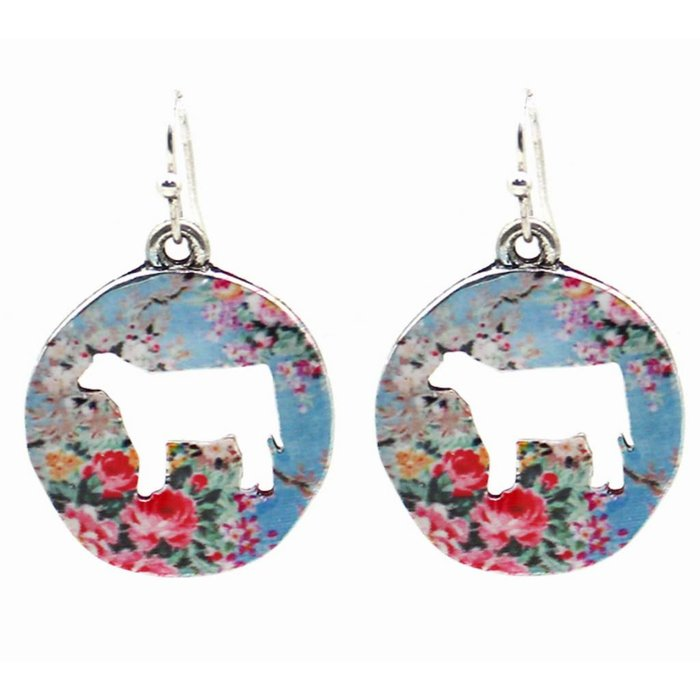 Blue Floral Cow Cut Out Round Earrings