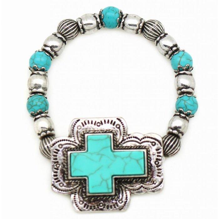 Cross Beaded Stretch Turquoise & Silver Bracelet