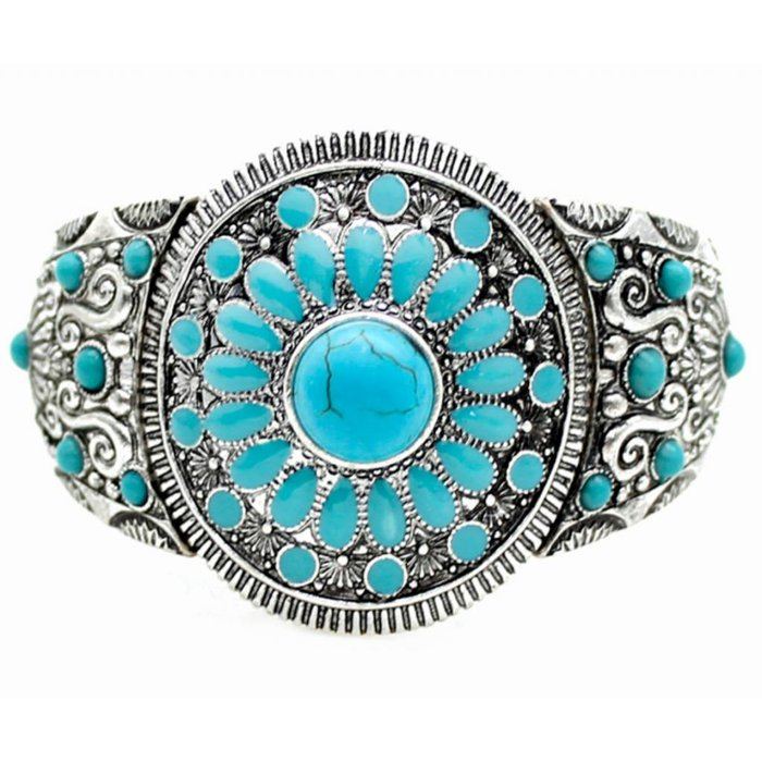 Turquoise Beaded Silver Stretch Bracelet