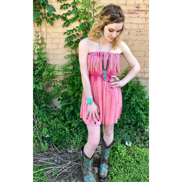 Hot Coral Fringe Tunic