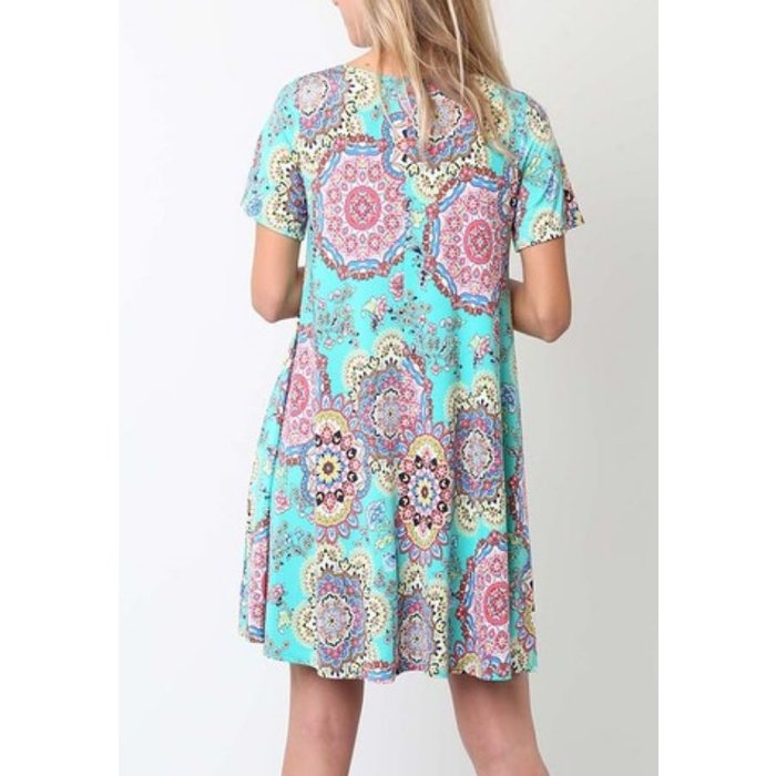 Turquoise Boho Dress w/Pockets