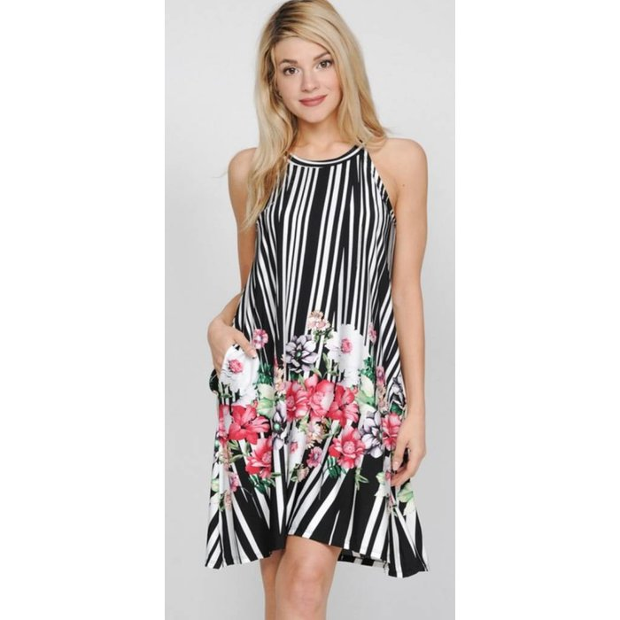 Black & White Striped Floral Dress w/Pockets