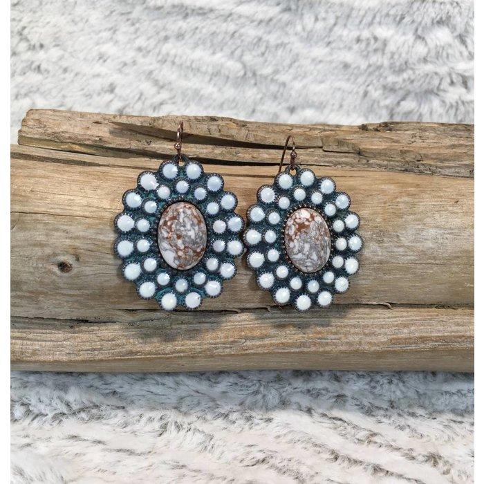 Patina Round Ivory Stone Earring