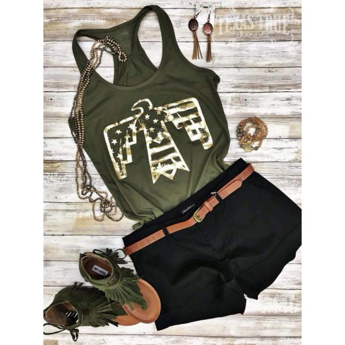 Military Green Patriotic Gold Foil Bird Tank