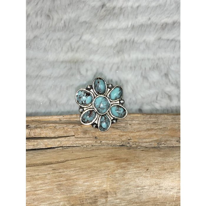 Flower Turquoise Stretch Ring