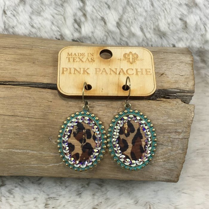 Turquoise Small Oval Leopard Earrings with AB Crystals