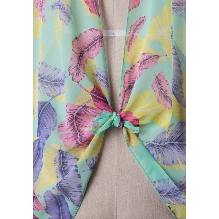 Mint Multi Feather Print Sheer Cardigan