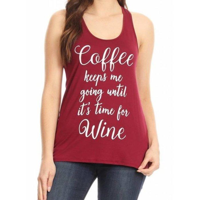 Burgundy - Coffee Keeps Me Going Tank