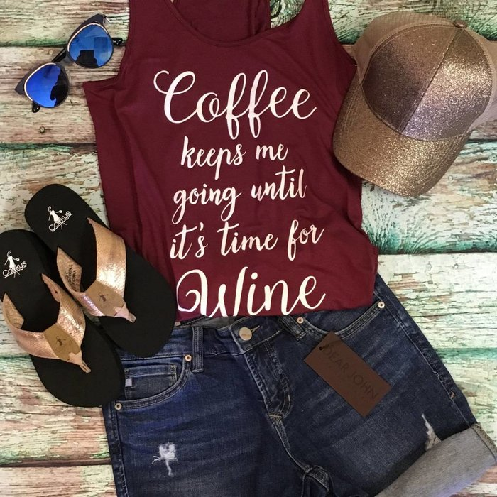 Burgundy - Coffee Keeps Me Going Tank