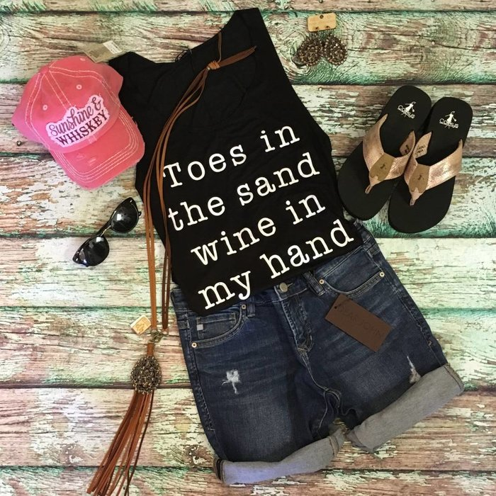 Black - Toes in The Sand Wine in My Hand Tank