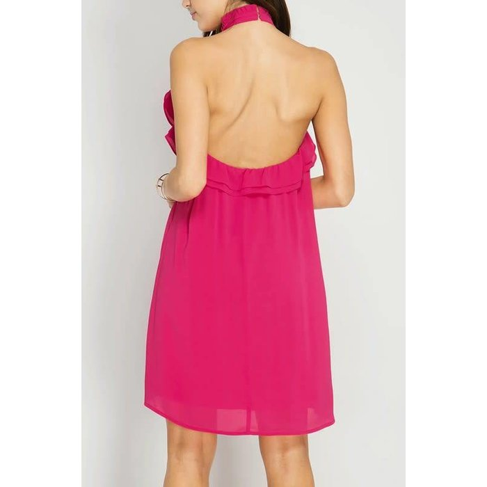 Fuchsia High Neck Ruffled Haulter Dress