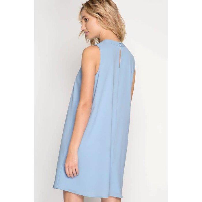 Ice Blue Sleeveless Shift Dress with Keyhole