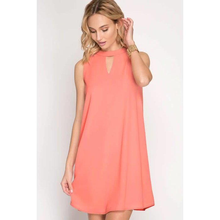 Coral Sleeveless Shift Dress with Keyhole