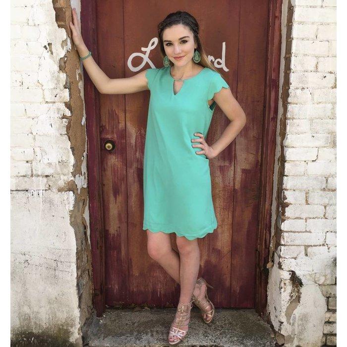 Soft Jade Scalloped Cap Sleeve Dress