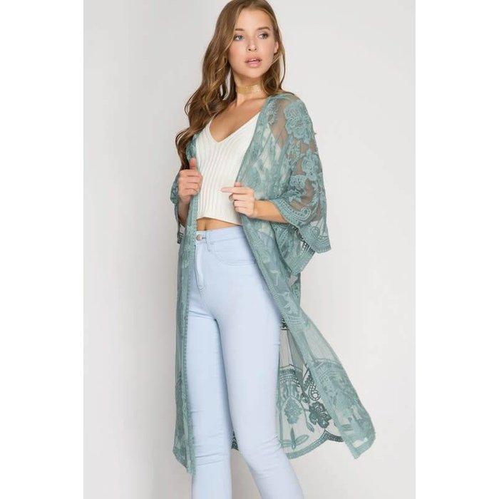 Slate Lace Long Kimono