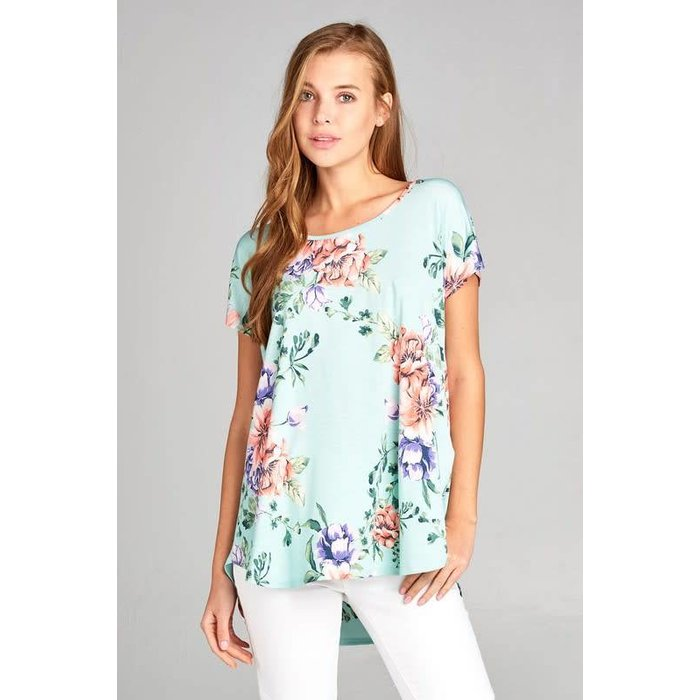 Mint Floral Bulagari Knit Tunic Top with X Back