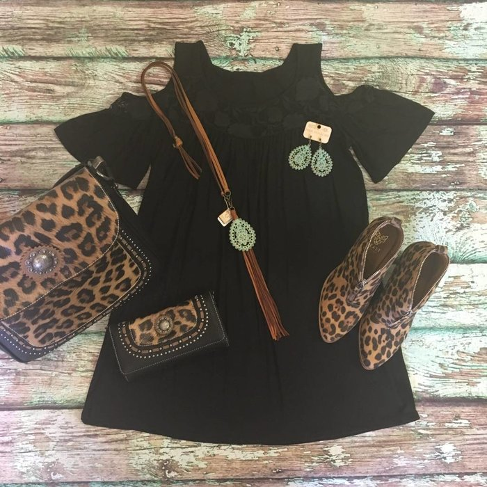 Black Cold Shoulder Tunic with Lace Detail