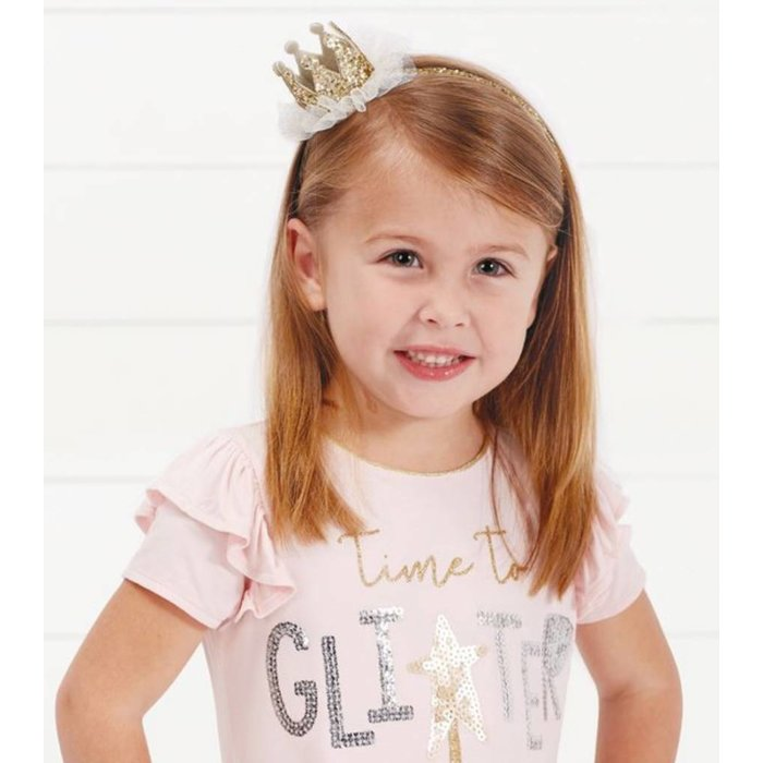 Gold Crown Glitter Princess MudPie Headband