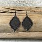 Black Glitter Damask Earring on Black