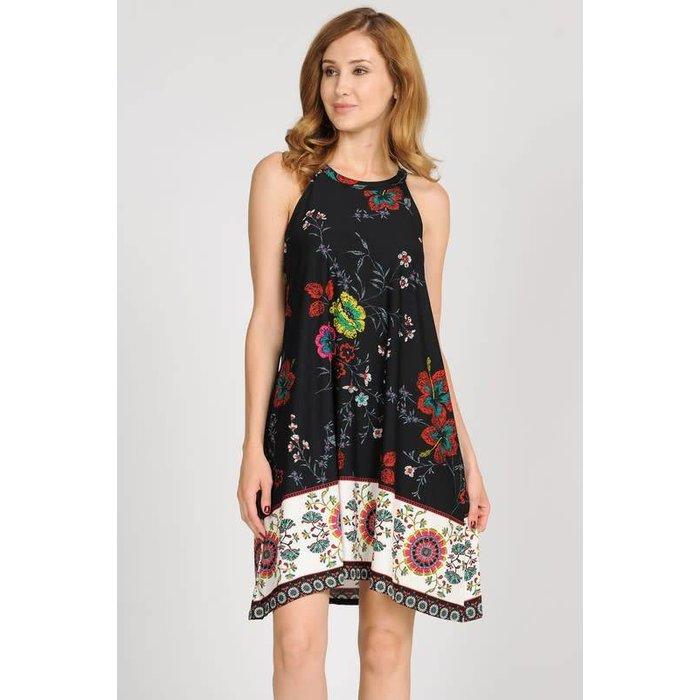 PLUS Black Floral Skater Dress w/Pockets