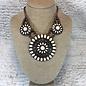 3 Piece Round Ivory & Bronze Necklace Set