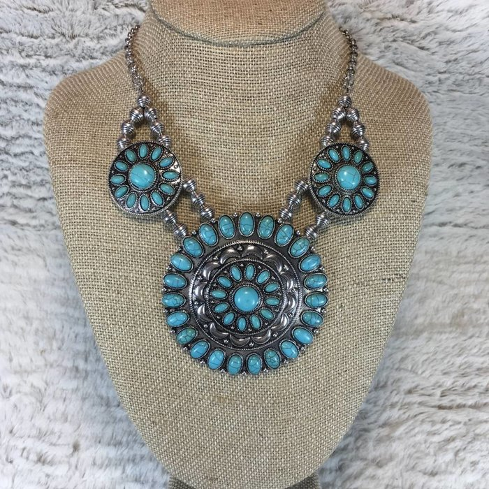 3 Piece Round Turquoise & Silver Necklace Set
