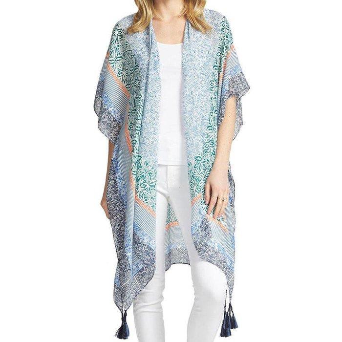 ONE SIZE - Multi Blue Bali Tassel Kimono