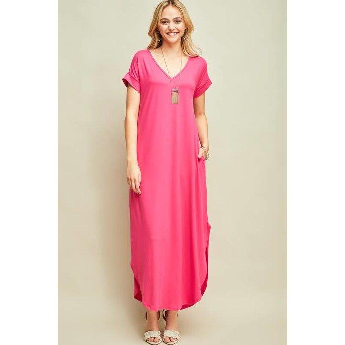 Hot Pink V-Neck Maxi Dress