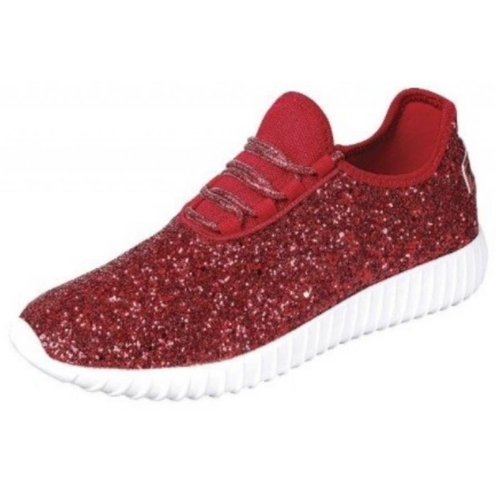 Red Glitter Remy Tennis Shoes