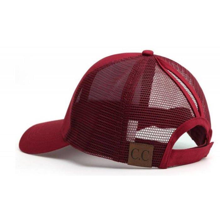 Wine Plain Ponytail Cap