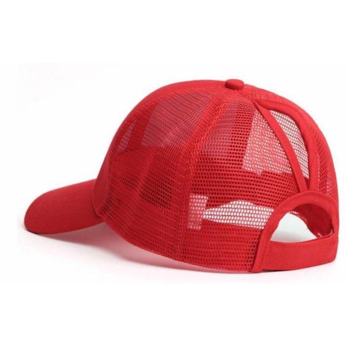 Red Plain Ponytail Cap