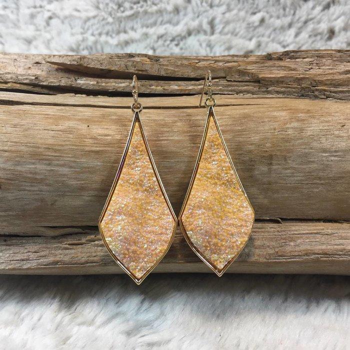 Gold Mystic Druzy Teardrop Gold Rim Earrings