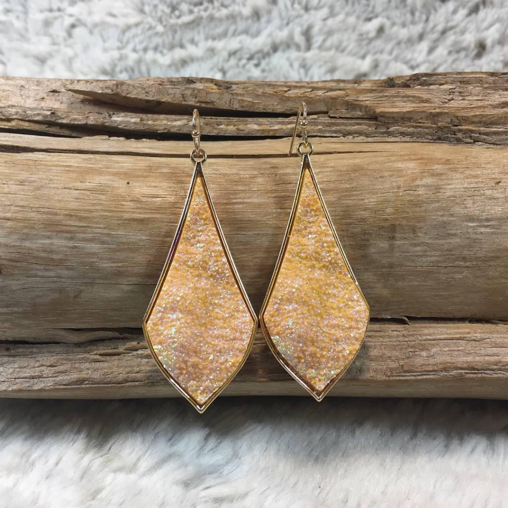 Gold Mystic Druzy Teardrop Rim Earrings