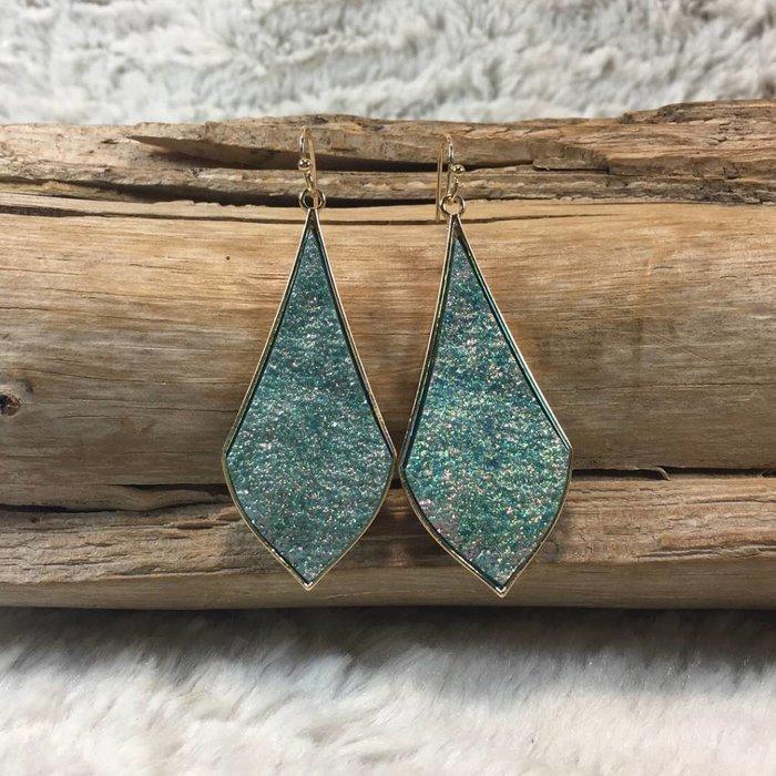 Turquoise Druzy Teardrop Gold Rim Earrings