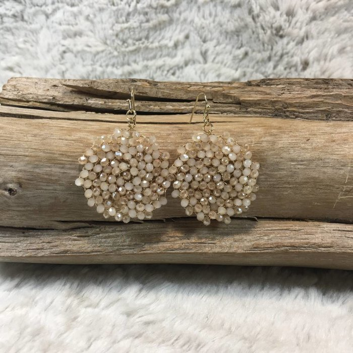 Crystal Taupe Round Earrings