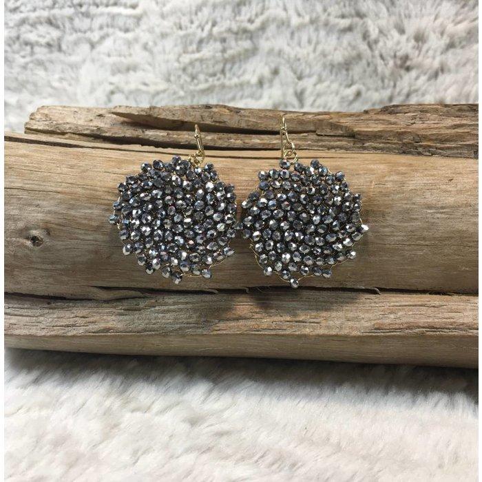 Crystal Hematite Round Earrings