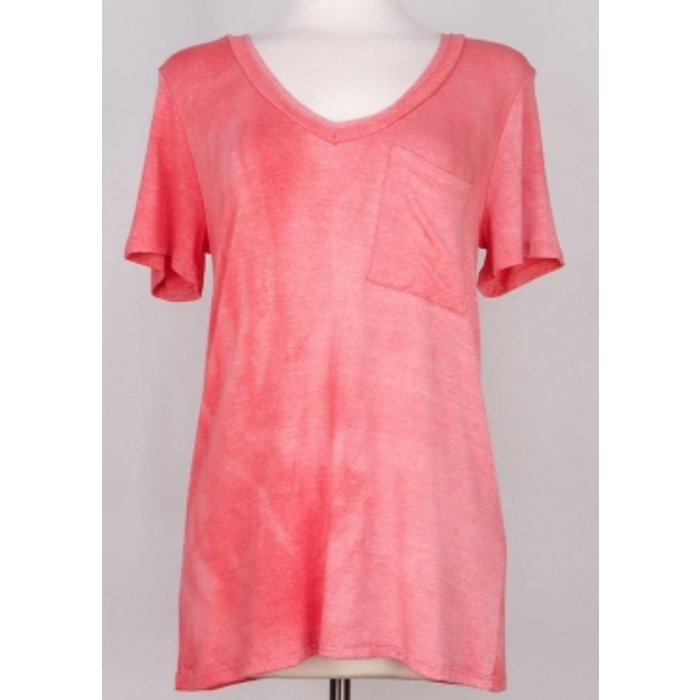 Coral Solid Short Sleeved V-Necked Top