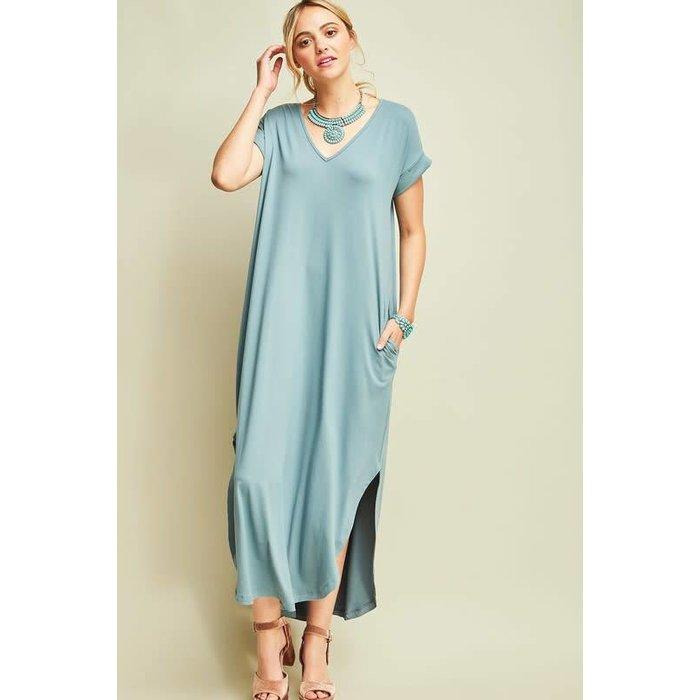 Slate V-Neck Maxi Dress