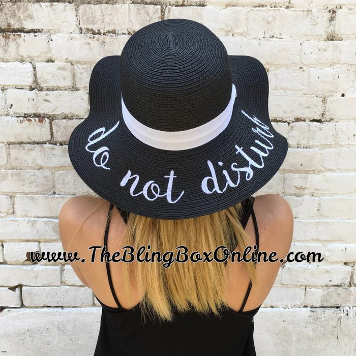 Black Do Not Disturb Floppy Hat with UVA / UVB / UPF Sun Protection