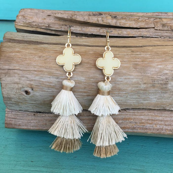 Beige Druzy 3-Tier Tassel Earrings