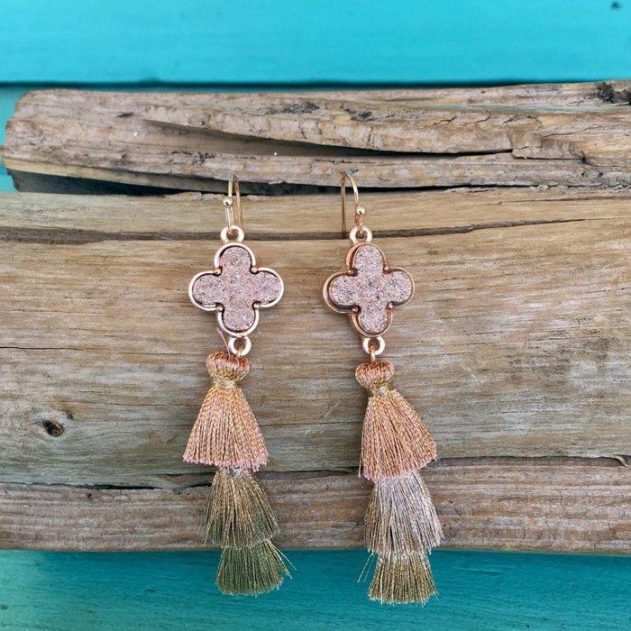 Rose Gold Druzy 3-Tier Tassel Earrings