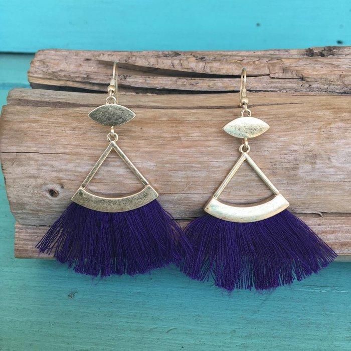 Purple & Gold Tassel Chandelier Earring