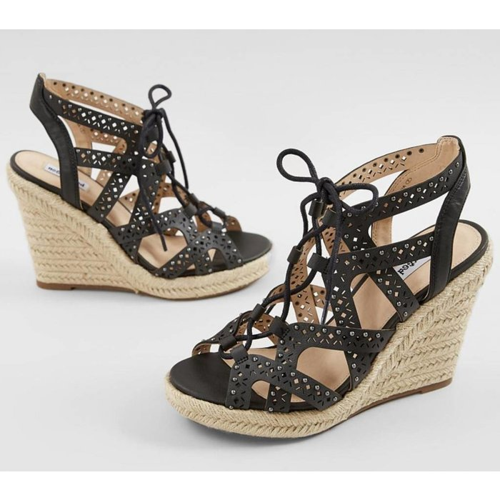Black Big Pine Wedge Sandal